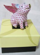 Herend When Pigs Fly Raspberry Fishnet Vhp-15299 Brand New In Box Save F/sh