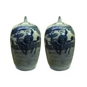 Lot Of 2 Blue White Small Oriental Graphic Porcelain Point Lid Jars Ws107