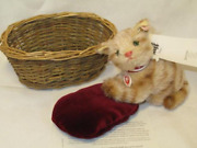 2014 Steiff World Limited 1500 Units Ginny Cat In Basket Mohair Kitten New Y