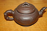 Chinese Clay Teapot Tea Pot Bamboo Spout And Handles Signed