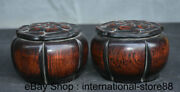5 Old Chinese Redwood Palace Carving Game Of Go Weiqi Flower Lid Box Jar Pair