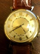 Vintage Lecoultre Wrist Alarm Mens 10k Gold Plated Wrist Watch Working Great