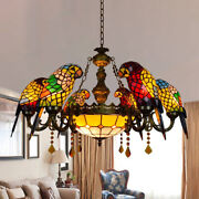 Vintage Stained Glass 6 Arms Parrot Chandelier Led Ceiling Pendant Light