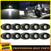White Led Rock Lights Kit With 10 Pods Light For Offroad Truck Car Atv Suv Boat