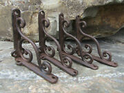 Set Of 4 New Cast Iron 4 Small Shelf Brackets Antique-style Rustic Wave Scroll