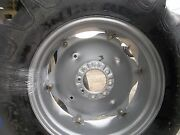 Two 13.6x28 13.6-28 R1 Tractor Tires On 6 Loop Wheels With Centers