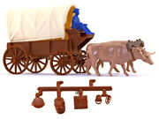 Marx Ox-drawn Covered Wagon With Driver And Accessories - 54mm Unpainted Plastic