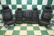 Note14-18 Gm Truck Double Cab Black Leather Heated Power Seat Set Backseat Oem