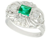 Vintage 1950s 0.55ct Emerald And 0.46ct Diamond 14ct White Gold Dress Ring