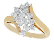 Vintage 0.60 Ct Diamond And 14 Ct Yellow Gold 14 Ct White Gold Set Twist Ring