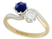 Vintage Diamond And Sapphire, 18carat Yellow Gold Twist Ring, 1950s, Size O