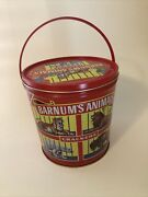 Vtg Nabisco Barnums Animal Crackers Tin Can Pail Bucket Caged Animals 1991