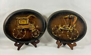 2 Vintage Oval Wooden Rustic Wall Hanging Pictures Of Old Antique Metal Cars