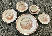 Furnivals 1913 Brown Quail 6 Pc Setting, Dinner Salad Bandb Cereal Cup And Saucer