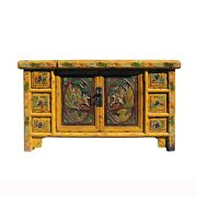 Chinese Distressed Yellow Carving Motif Tv Console Table Cabinet Cs5905