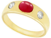 Vintage 1980s 1.29ct Ruby And 0.42ct Diamond 14ct Yellow Gold Dress Ring - P1/2