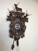 Vtg Lg Hand Made Black Forest Cuckoo Clock With Three Stag Horn Deer 8 Days 1