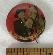 Rare Vintage Hopalong Cassidy And Topper Western Cowboy Button Pin Badge Pinback