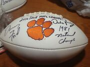 Dabo Swinney And Danny Ford Signed Clemson Tigers Football With National Titles
