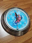 Bud Man Neon 14 3/4 Clock Working Plastic Frame No Power Cord For Neon