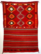 Exceptional Historic Navajo Eyedazzler Double Pattern Saddle Blanket Excellent
