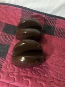 Longaberger Pottery Woven Traditions Napkin Taco Holder Chocolate Brown Pottery