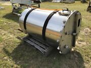350 Gallon Vertical Stainless Steel Tank Enclosed Top With Manhole And Several