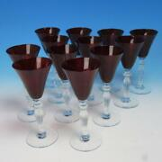 Morgantown Glass - Monroe Red - Crystal Stem - 12 Wine Glasses - 6 1/8 Inches