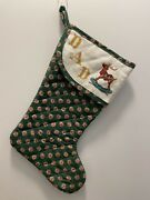 """Dad Christmas Cross Stitch Stocking Quilted Green Reindeer Handmade 17"""" Father"""