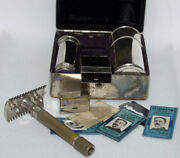 1918 British 460b Gillette Safety Razor Combo Set With Case Double Strike G In