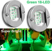 2x Green 18led Pontoon Boat Lights Lamp Marine Transom Deck Courtesy Navigation