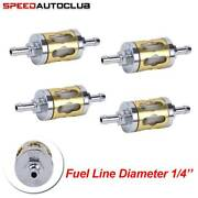 4pcs Motorcycle Bike Metal Glass Gas Oil Fuel Filter Small Engine 8mm 1/4'' Hose