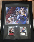 Lebron James And Dirk Nowitzki Autographed Photo W/ Jersey Cards /299 Framed - Coa