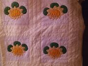Vintage 1959 Handmade Water Lily Quilt.