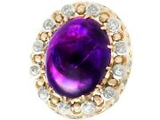 21.43ct Amethyst And 1.07ct Diamond 14ct Yellow Gold Dress Ring - Vintage 1960s