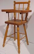 Vintage Wooden Baby High Chair Hinged Tray Turned Spindle Legs Doll Furniture