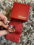 New Baccarat Clear Crystal X 24k Gold Trimming Pyramid Type Ring Size 8