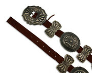 Navajo Concho Belt .925 Silver Hand Stamped Signed Artist Harry Morgan C.80and039s