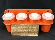 Vintage Tupperware Spice Rack With Shakers, Lids And Labels Orange New Old Stock