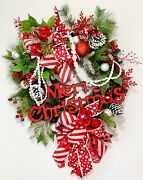 Merry Christmas Sign Large Evergreen Wreath Front Door Huge Red White Bows New