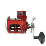 Trolling Fishing Reel Saltwater Sea Bait Casting Drum Reel With Line Counter Red