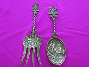 Antique Sterling Ornate Serving Fork And Spoon Milk Maid Handlesrare138.5g Look