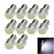 10x White Car 1157 Brake Light Backup Blub 3 Emitters Cob Led 2357 2397 E043