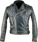 Distressed Black Quilted Cafe Racer Antique Brando Motorcycle Leather Jacket