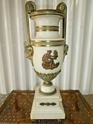 Large Neoclassical Bronze And Alabaster Urn With Faces