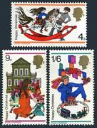 Great Britain 572-574 Two Setsmnh. Christmas 1968. Children Plays Train.