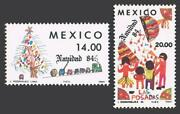 Mexico 1368-1369 Two Sets Mnh. Christmas 1984.toy Train Tree Pinata Breaking.