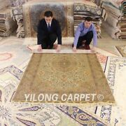 Yilong 5and039x8and039 Golden Silk Rugs Hand Knotted Medallion Floor Carpets Handmade 1027