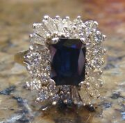 Royal Family Worthy 1.40 Ct Diamond And 1.50 Ct Emerald Cut Sapphire Ring 14k
