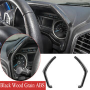 Dashboard Instrument Side Strips Trim For Ford F150 2015-20 Abs Black Wood Grain